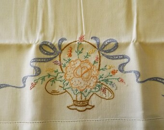 Vintage Hand Embroidered Ivory Linen Pillowcase Set