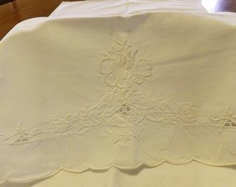 Antique White Embroidered Cutwork Pillowcase