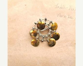 SHOP SALE vintage 925 silver & brass brooch - HARVEST Moon dangling pin