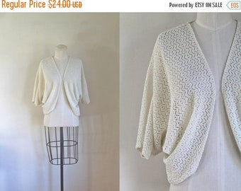 40% OFF anniversary sale vintage 1970s crochet bolero - BUTTER CREAM lace shrug / fits most