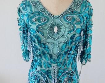 Vintage Fringe Pearls Sequins Beaded Aqua MarineTurquoise Blue Silk Blouse Top M