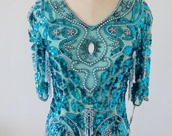 Turmaline Fringe Pearls Sequins Beaded Aqua MarineTurquoise Blue Silk Blouse Top M