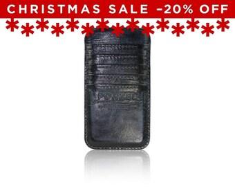 Christmas Sale -20% Off - - iPhone 6+, iPhone 7+ RETROMODERN aged leather pocket - - BLACKMARINE