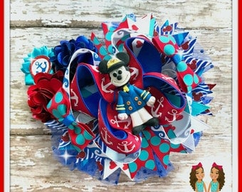Cruise Mickey Hair Bow by Twincess Bowtique