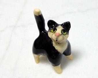 Tuxedo Cat Miniature- Handmade Miniature Figurine - Terrarium Cat - Terrarium Miniature Figurine - Kitten Figurine - Pottery Animal