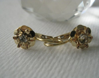 Vintage 18 K Yellow Gold and Glass Dangle Earrings