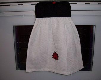 Oven Door Hanging Towel -Ladybug-Kitchen Towel ,Tea Towel,Potholder-Ready To Ship