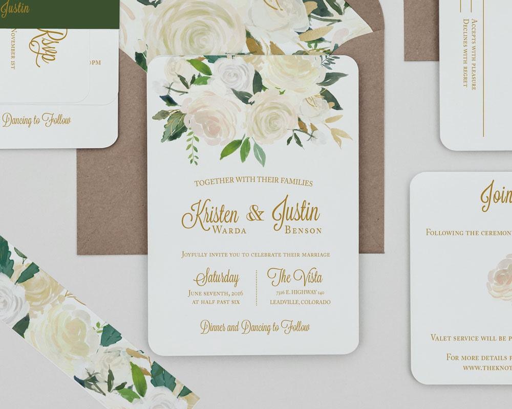 White And Green Wedding Invitations: White Floral Wedding Invitation TemplateRustic Floral Wedding