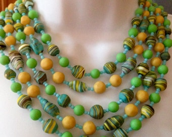 Fabulous Five Strand Vintage Italian Glass Multi Color Glass Bead Necklace Green Blue Yellow Swirl Glass Beads