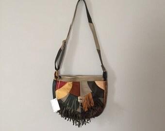 30% OFF SALE... patchwork leather hobo bag   fringed southwestern purse