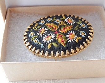 Embroidered Brooch,  Flower Brooch, Vintage  Brooch, Gift for Her