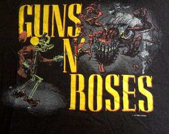 GUNS N ROSES Tour Tshirt Original 1987 Vintage Band Tee t Shirt