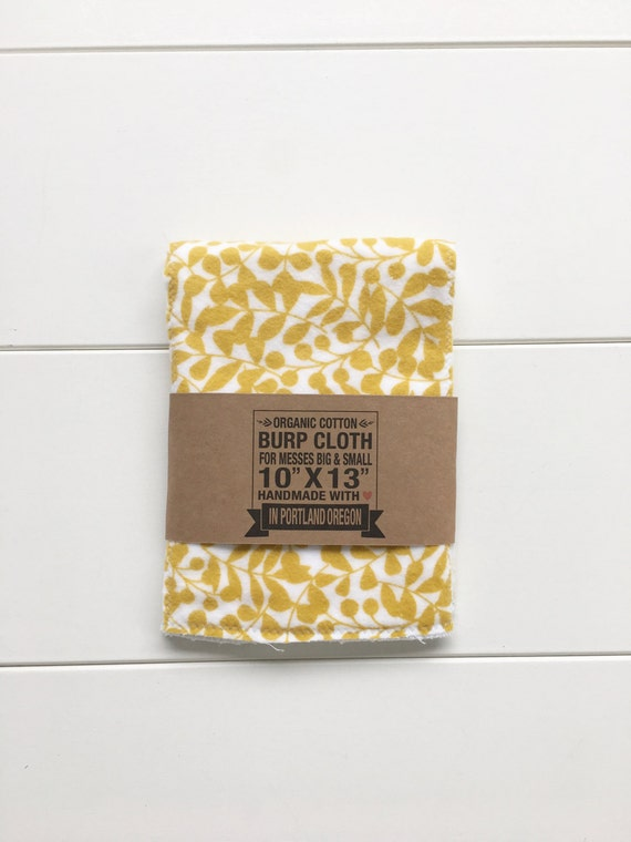 Mustard Leaf Print Organic Cotton Flannel Burp Cloth - Baby Shower Gift - New Mom Essential