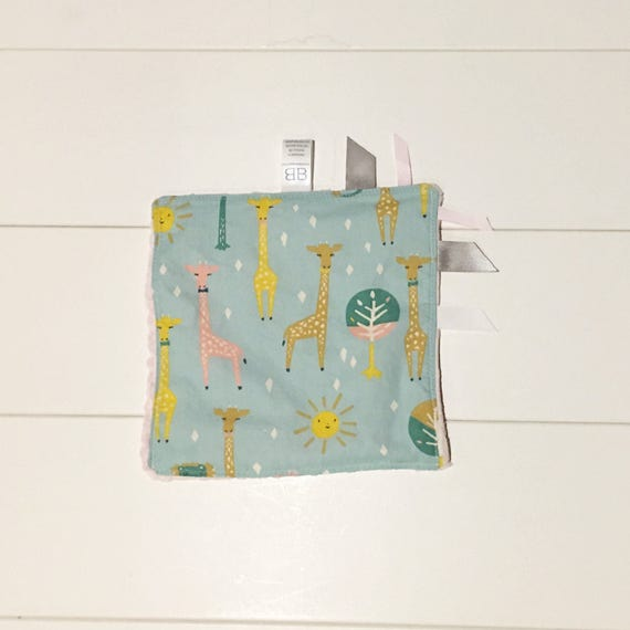 Organic Giraffe Print Ribbon Lovey Sensory Crinkle Baby Blanket - Baby Shower Gift - New Mom Essential