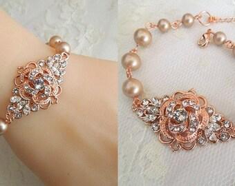 Champagne Pearls Rose Gold Bracelet Ivory swarovski Pearls vintage style Pearl and Rhinestone Wedding Bracelet Bridal Jewelry Pearl ROSELANI