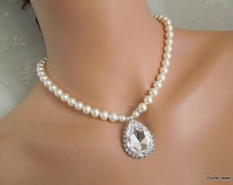 ivory swarovski pearl and crystal necklace Statement Bridal necklace Wedding Rhinestone necklace swarovski crystal and pearl FERNANDA