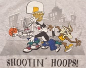 Looney Tunes Shootin' Hoops Hooded Shirt, Hip Hop Basketball, Vintage 90s, Bugs, Sylvester, Wile E. Coyote, Streetball