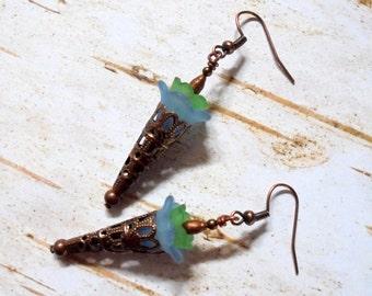 Blue, Green and Copper Boho Flower Earrings (3131)