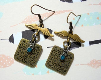 Brass and Aqua Winged Boho Earrings (3413)