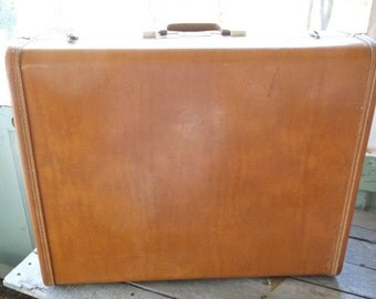 Nice Vintage Royal Traveller Brown Leather look Suitcase Luggage Schwayder Bros Denver Samsonite