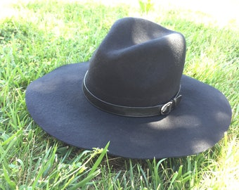 100 Percent  Wool Plain Floppy Sun Hat Black (16 inches full length)