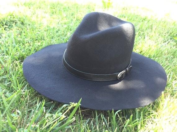100 Percent  Wool Plain Floppy Sun Hat Black (16 inches full length)