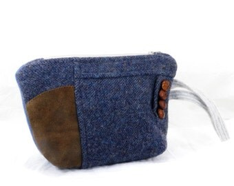 Wool Wristlet, Brown and Blue, Leather Patch, Make Up Bag, Small Purse, Gadget Pouch, Carry All, Handmade Purse
