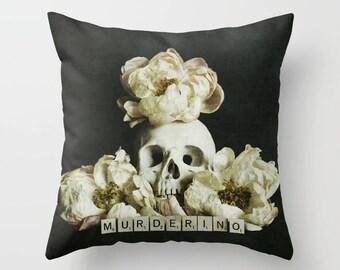 My Favorite Murder Pillow Cover - Murderino - home decor, throw pillow, ssdgm, fan art, dark, beautiful, skull art