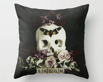 My Favorite Murder Pillow Cover - SSDGM - home decor, throw pillow, murderino, fan art, dark, beautiful, skull art
