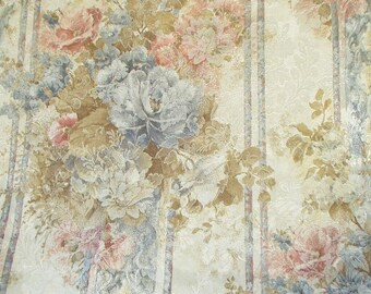 Vintage JC Penny Drapes Jacquard Curtains Blue Pink Floral Formal Lined Pinch Pleated 3 pair window Treatments available