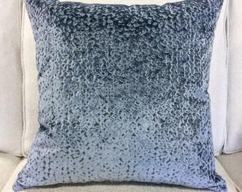 """Designer Steel Blue Cut Velvet Pillow Cover- Gray Blue Pillow Cover- Blue Textured Pillow Cover- 20"""" Finshed Cover"""