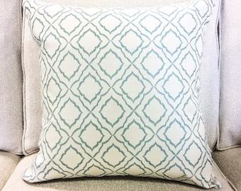 "Designer Blue and Cream Diamond Trellis Geometric Pillow Cover- Lattice Pillow Cover- 20"" Finshed Cover"