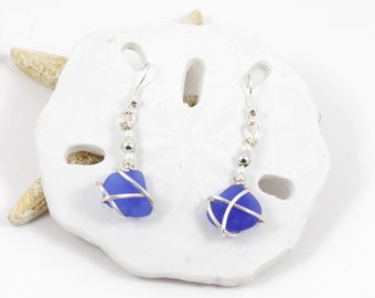 Blue Sea Glass Earrings Unique OOAK Silver Rare Seaglass Mermaidtears Cobalt