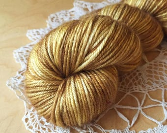 DK Weight Yarn / Hand Dyed Silk Merino Luxury / Deep Gold Golden Brass Bronze Antique Gold