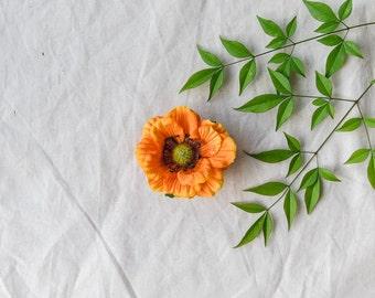 orange anemone flower clip // dara / natural garden wedding headpiece, hair accessory, whimsical, woodland, nature inspired.