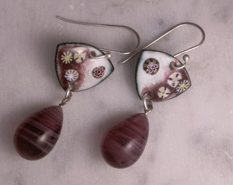 Earrings, Hand Enameled with Vintage Glass Beads