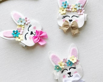 Easter Bunny Hair Clips, Spring hair accessories, alligator clip