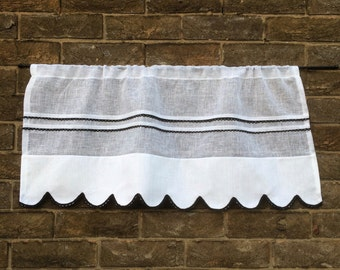 Kitchen Valance, white Sheer Linen Window Topper, 36 inches Wide, Scalloped Black Lace