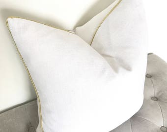 Linen Pillow Cover with Gold Piping - White and Gold Pillow Cover - Gold Pillow - White Pillow - Linen Pillow - Decorative Pillow