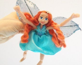 Tooth fairy doll, posable wire frame, polymer clay,