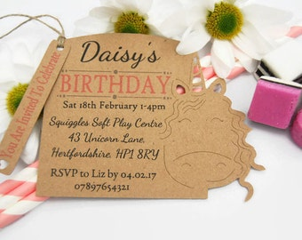 x10 Girls Unicorn Birthday Party Invites Invitations tags Personalised