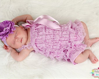 Baby Girl Coming Home Outfit, Baby Shower Gift, Baby Rompers, Newborn Photo Prop, Lavender Lace Romper, Newborn Rompers, Toddler Romper