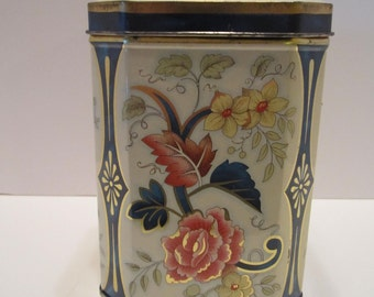 Vintage Daher Tin Container - Blue and Pink Floral Design - Hexagonal Tin Shape - Hinged Lid