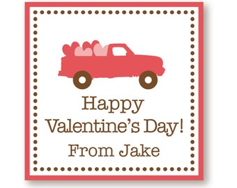 Customized Valentine Truck Labels