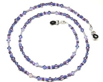 Tanzanite Violet Swarovski Crystal Purple Bead Mix Eyeglass Chain
