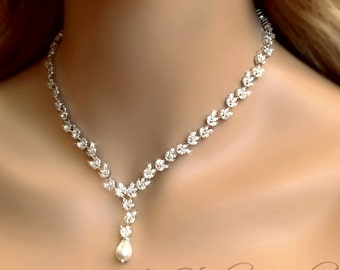 Marquise CZ Cubic Zirconia Pearl Bridal Necklace - CALISTA