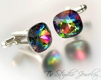 Rainbow Cushion Cut Crystal Cufflinks - Available in several colors