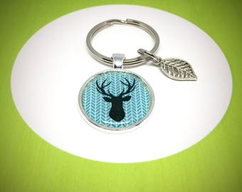 keychain with a black deer silhouette on blue chevron, 30mm keyring