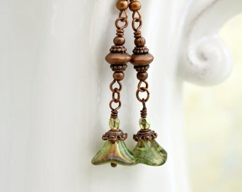 Flower Earrings in Copper and Green - long drop earrings with green flowers