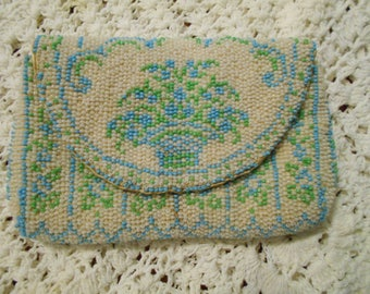 ANTIQUE BEADED PURSE forget me knot wedding style small with coin pocket can carry keys fold over snap